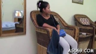 Young pretty oriental girl gives a wonderful handjob and a ride