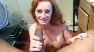 Red head plays with her pussy and waits for facial